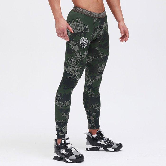 【OTOKO Men's Boutique】固制:有種部隊迷彩緊身訓練長褲/綠色迷彩