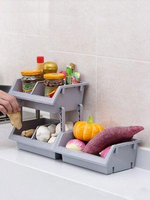 新款家居居家家可疊加廚房用品置物架臺面落地蔬菜收納筐塑料調料架收納架