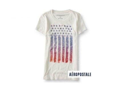 美國正品Aeropostale[Aero] 美式休閒短袖T / 米白 ~S (編號:3826 )