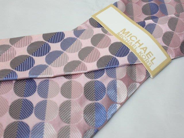 【MICHAEL KORS】100%全新正品 圈形領帶-粉紅色系【寬版8.5cm】*領帶兩條95折三條9折*MK12