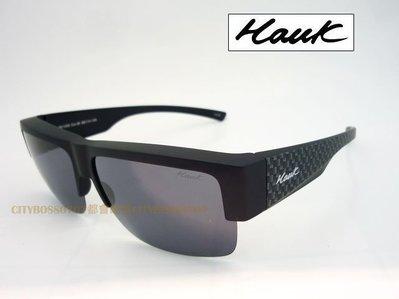 {都會眼鏡} Hawk 強化TAC偏光太陽眼鏡 近視包覆套鏡 輕舒適半框設計 HK1008 霧黑框 立即護眼防曬!!