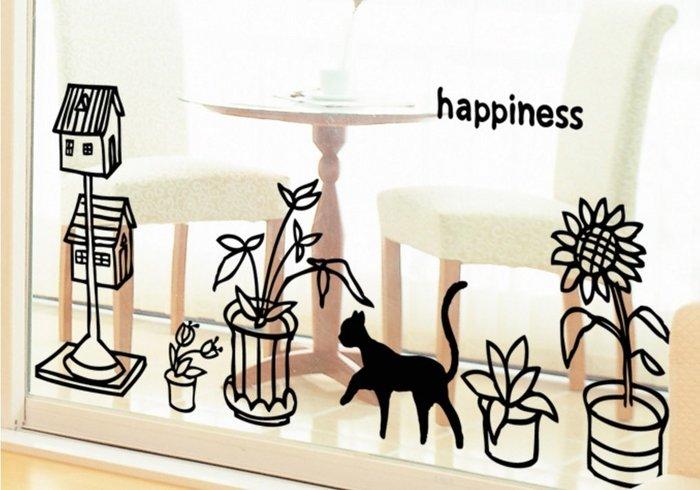 小妮子的家@花盆和貓壁貼/牆貼/玻璃貼/ 磁磚貼/汽車貼/家具貼/冰箱貼