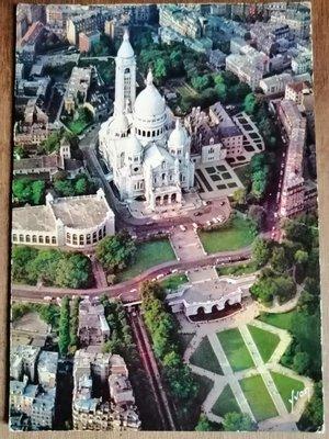 ??老明信片 實寄明信片 ??法國寄美國?? 巴黎聖心堂