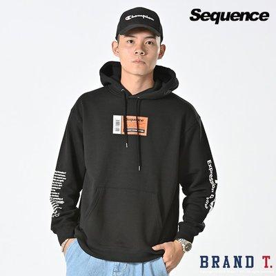 【Brand T】免運 SEQUENCE P/K HOODIE 黑色*LOGO*條碼*長袖*連帽*T恤*帽T
