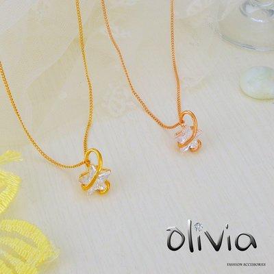 Olivia Fashion 韓版 經典基本款式藤蔓單顆精選星星鋯石厚鍍14K金項鍊 鎖骨鍊 【M01064】