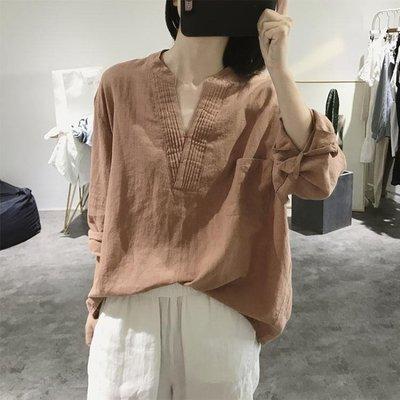 棉麻上衣 v領棉麻襯衫女式長袖寬鬆大碼顯瘦套頭大款復古文藝亞麻上衣