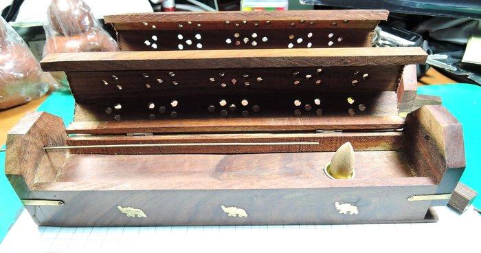 W45R2越南花梨木小象香盒多功能線香塔香香盒 手工藝鏤空 塔香爐