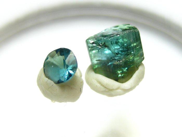 【Texture & Nobleness 低調與奢華】寶石&原礦 藍色碧璽切割寶石3MM&原礦0.6克拉