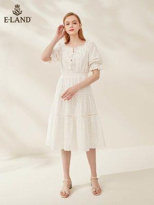 ELAND韓版仙女氣質優雅方領/一字領簡約純色短袖沙灘裙連衣裙女