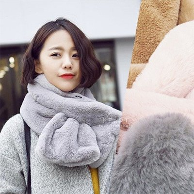 【可愛村】 兔毛手感加厚純色圍巾 冬季保暖 刷毛圍巾