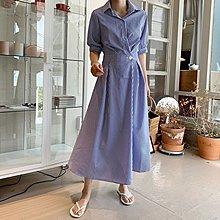 Bellee 正韓  直條紋腰身短袖襯衫洋裝  (2色)  【60640】 預購