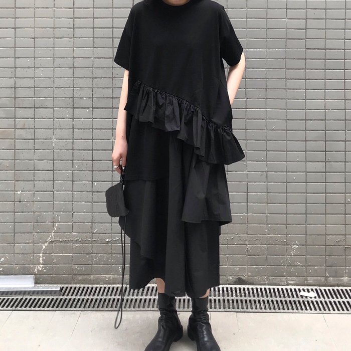 SeyeS  雜誌款自然風個性暗黑不對襯荷葉上衣+設計感寬褲裙