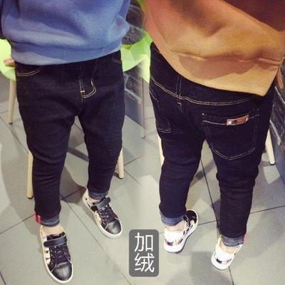【蘑菇小隊】男童加絨牛仔褲5女童冬款中童小童男寶寶小腳褲修身黑色3歲小男孩-MG17552