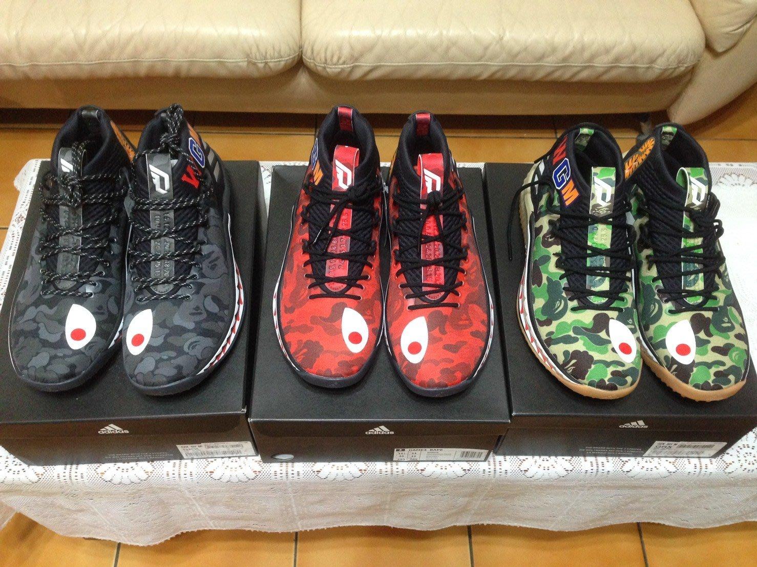 【現貨預購】adidas by BAPE® Damian Lillard 4 ape 迷彩鯊魚 綠黑紅 dame