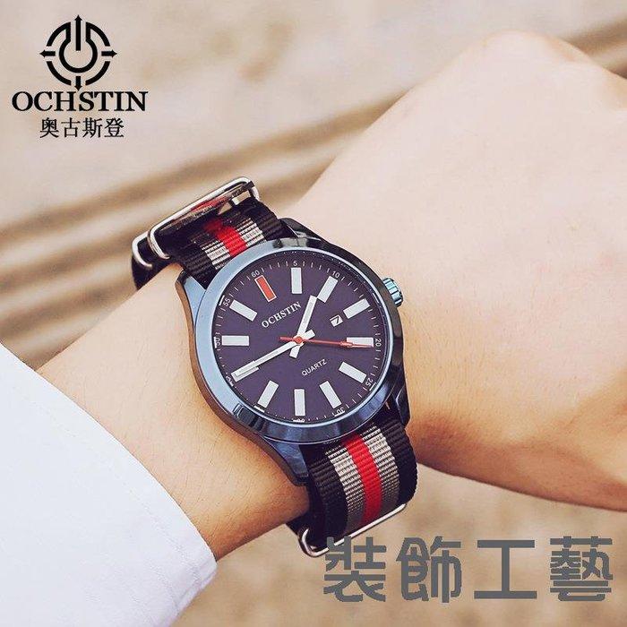 奧古斯登日歷男錶 歐美范石英腕錶 帆布錶帶休閑男士運動防水錶