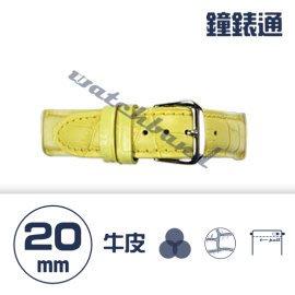 【鐘錶通】C1.04KW《繽紛系列》鱷魚壓紋-20mm 鵝黃┝手錶錶帶/高質感/牛皮錶帶┥
