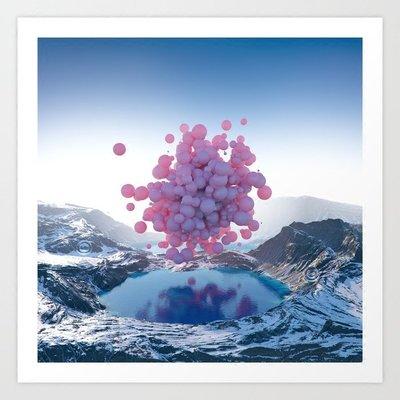 一點超現實 咖啡氣球雪山風景藝術攝影 Society6 美國進口裝飾畫