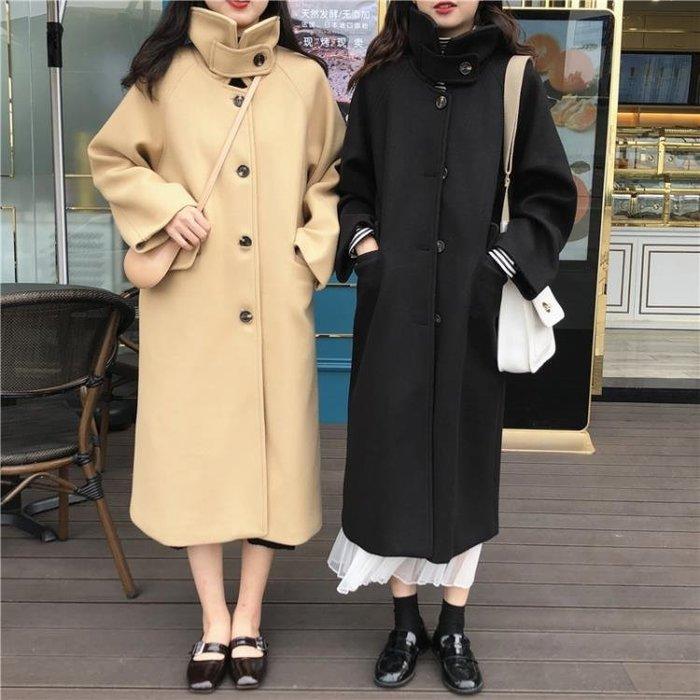 外套 女 長款呢子外套女新款冬季韓版學生百搭寬鬆單排扣過膝呢子大衣