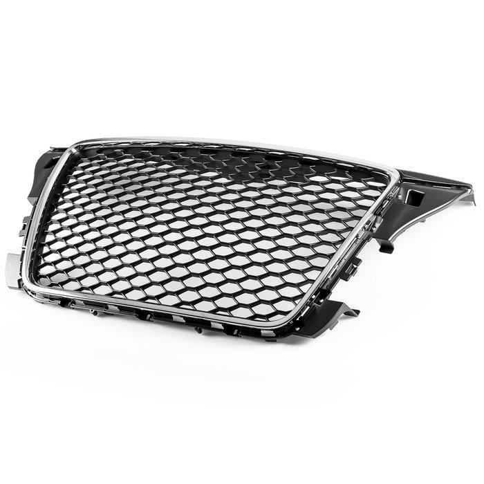 [鍍鉻+亮黑] RS3樣式 水箱罩格柵網格鼻頭 Audi奧迪 A3 S3 8P 2009-2013年式(改款後)適用