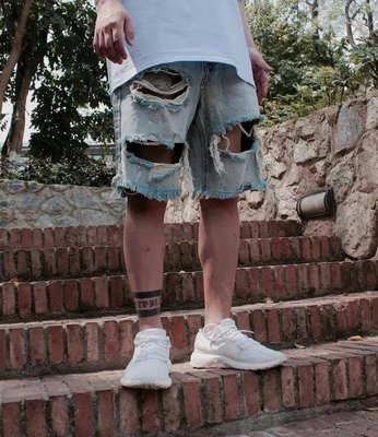 【Result】水洗破壞寬鬆短牛仔褲 Hiphop