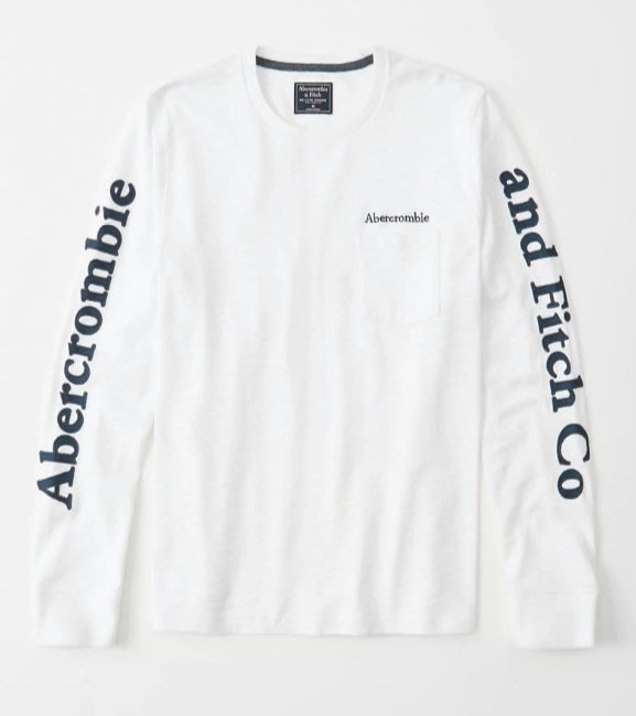 AF Abercrombie & Fitch 麋鹿 刺繡 貼布 logo 長T 白色 重磅