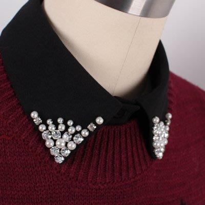 假領子 襯衫 領片-雪紡珍珠水鑽尖領女裝配件2色73va31[獨家進口][米蘭精品]