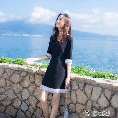 洋裝禮服 新款女裝V領赫本小黑裙撞色拼接修身顯瘦A字裙中袖洋裝