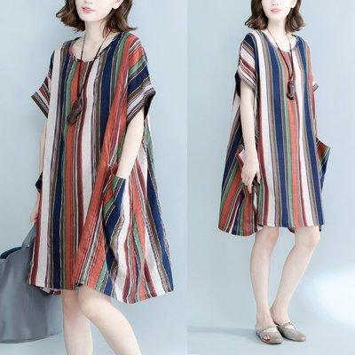 幾何條紋連身裙短裙洋裝 加大尺碼 寬鬆