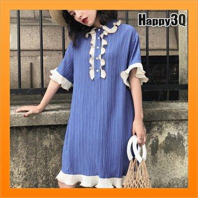 撞色連衣裙中長款花瓣領復古寬鬆顯瘦透氣...