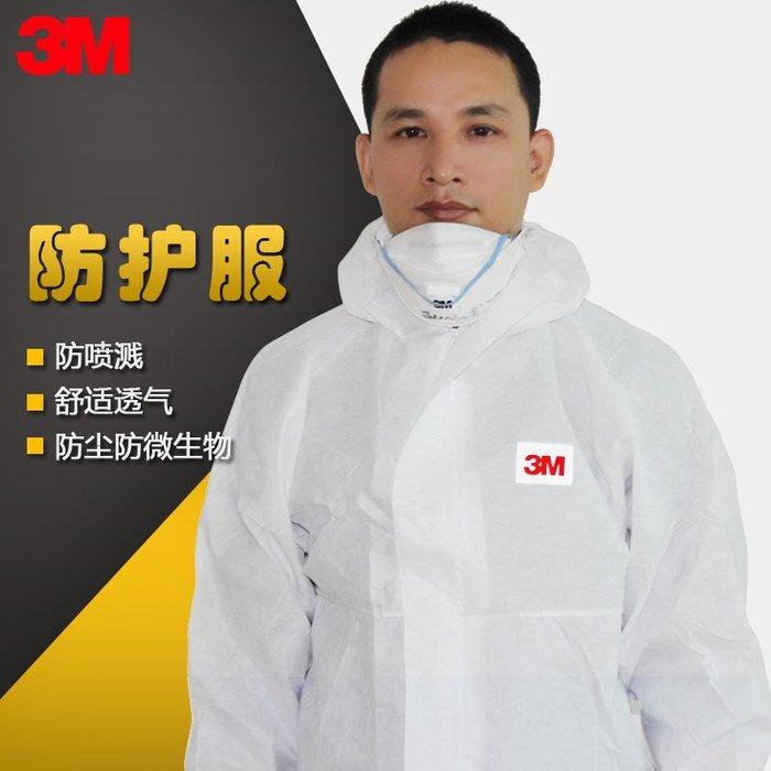 新品上市#3m防護服連體4515 白色帶帽防塵服顆粒物防靜電農藥噴漆工作服男
