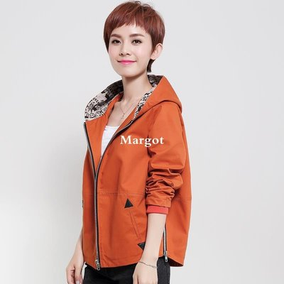 [Margot]媽媽裝秋裝新款上衣 大碼女裝短款寬松夾克衫 中老年短外套女春秋