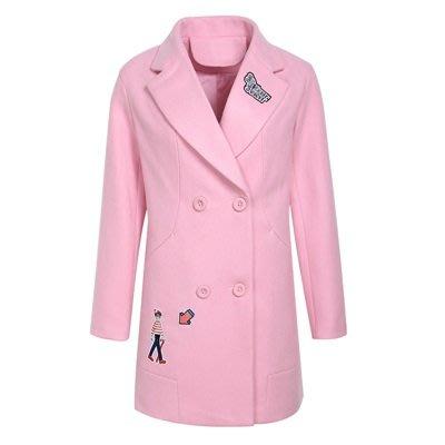 毛呢 外套 長版大衣-粉色刺繡翻領雙排扣女外套73ui19[獨家進口][米蘭精品]