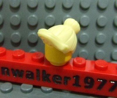 【積木1977】 Lego樂高-亮黃色馬尾包頭頭髮/女生頭髮 (Bright Light Yellowl )(H-09)