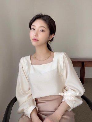 2021早春新款 韓國東大門女裝代購 PROPER方領褶皺泡泡袖純色襯衫