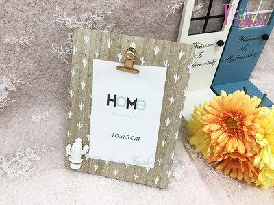 ☆[Hankaro]☆歐美仙人掌圖案木質夾子留言板相框