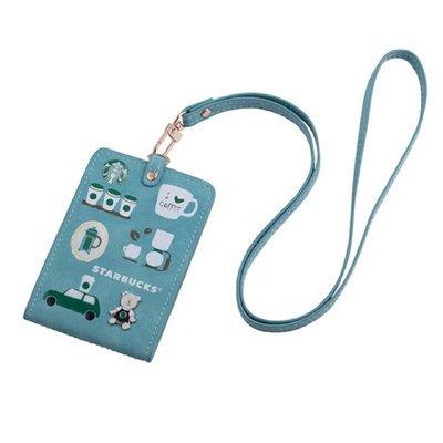 藍掀式證件掛牌 星巴克 吊牌 證件套 星巴克 證件夾 藍色 掀式 證件掛牌 小熊吊飾 小熊證件夾 證件套