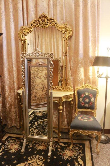 【家與收藏】特價極品稀有珍藏歐洲古董法國凡爾賽華麗巴洛克手工木雕花大立鏡/穿衣鏡