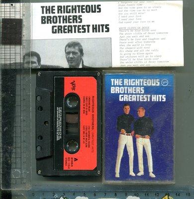 英語歌曲 正義兄弟 Righteous Brothers ( GREATEST HITS ) 寶麗金唱片二手錄音帶+歌詞