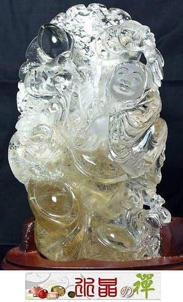 水晶の禪《傳家典藏系列㊣招財納福精雕》維納斯金髮晶.白幽靈《劉海戲金蟾》