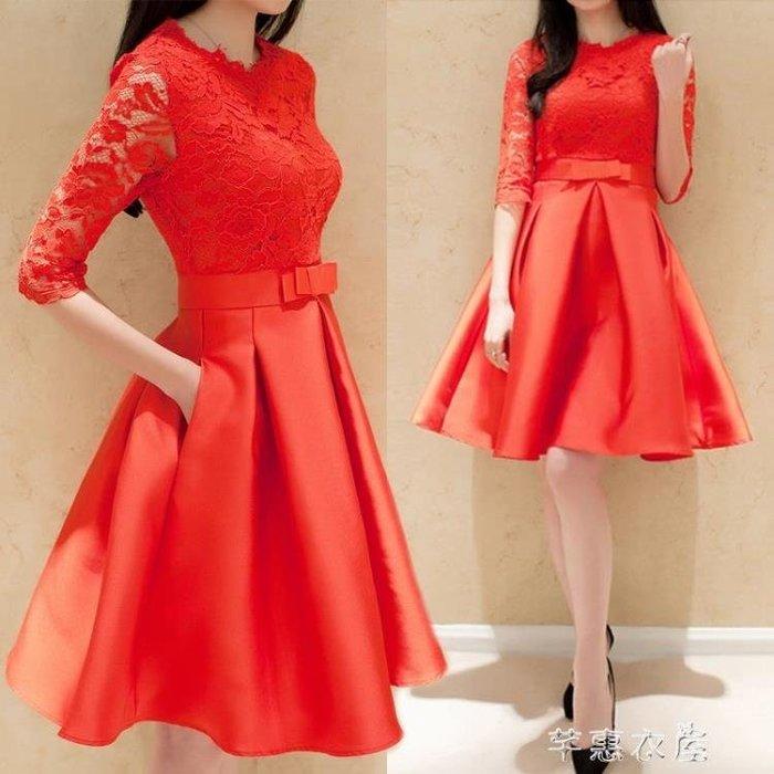 大碼女裝紅色蕾絲高腰顯瘦中長款蓬蓬洋裝結婚禮服 芊惠衣屋