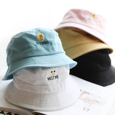 ~好賣家~小雞和雞蛋日系妹妹防曬帽子女夏天韓版百搭學生帽子可愛夏季漁夫帽子