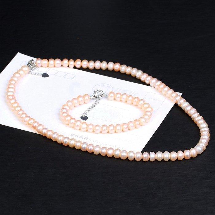 禧禧雜貨店-天然珍珠項鏈手鏈套裝女士款裸粉色天然淡水珍珠鎖骨鏈手串特價