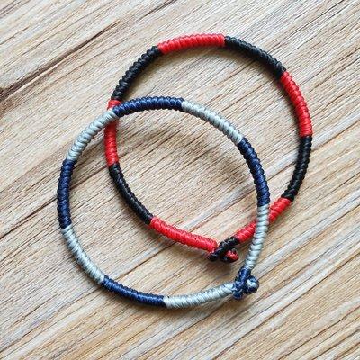 手工編織雙色情侶開運蠟線手繩 handmade bracelet