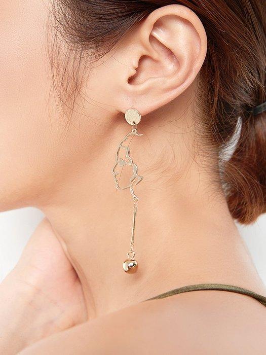 Lissom韓國代購~不對稱人臉耳環女長款氣質韓國簡約個性潮人百搭吊墜耳墜耳飾耳釘