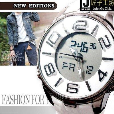雙顯錶 電子型多功能 冷光 首選時尚雜誌雙時間 立體刻度男錶 ☆匠子工坊☆【UK0123】