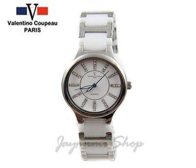 【JAYMIMI傑米】Valentino范倫鐵諾古柏精密陶瓷錶-水鑽刻度陶瓷錶 小 特價950元 原廠保固 白色
