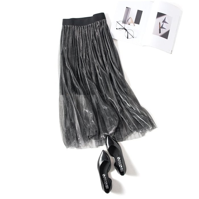 A158 專櫃柔軟閃亮網紗拼接鬆緊腰修身顯瘦百褶裙蛋糕裙