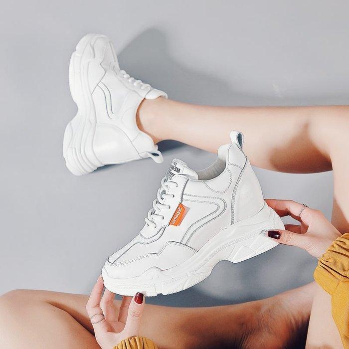 創意夏季女鞋隱形內增高鞋運動老爹鞋夏季百搭網面女鞋透氣鏤空厚底小白鞋