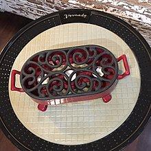 少見  法國  Staub ((紅色)) 鑄鐵搪瓷板加熱 保溫器 也可當鍋墊/湯鍋墊