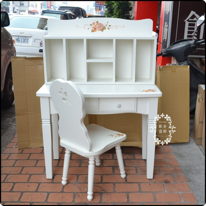 白色彩繪玫瑰花書桌書架書桌椅一套 寬100公分化妝台寫字桌鏡台書櫃桌上置物架櫃台保養品收納辦公桌收銀台電腦桌【歐舍家飾】